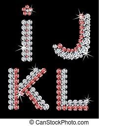 ダイヤモンド, セット, (3), letters., ベクトル, アルファベット