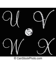 ダイヤモンド, セット, 6, letters., ベクトル, アルファベット, 優美である