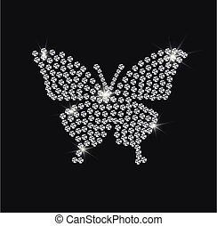 ダイヤモンド, ベクトル, イラスト, 蝶, 美しい