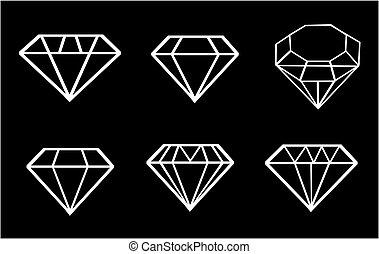 ダイヤモンド, ベクトル, セット, アイコン