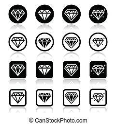 ダイヤモンド, ベクトル, セット, 贅沢, アイコン