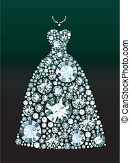 ダイヤモンド, 服, 結婚式