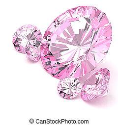 ダイヤモンド, 白, 背景, 3d, イラスト
