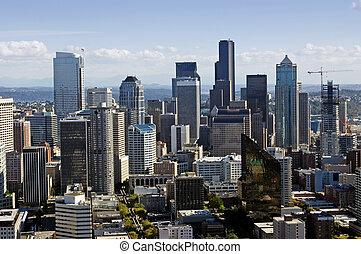 ダウンタウンに, シアトル, 光景