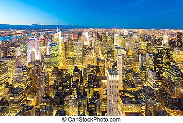 ダウンタウンに, ニューヨークシティ, マンハッタン, 夕闇