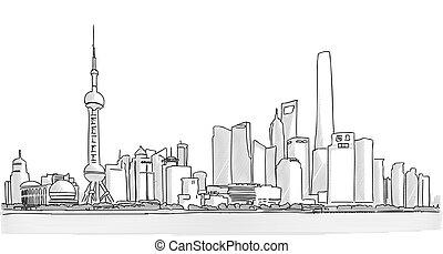 ダウンタウンに, パノラマ, 上海, 図画, freehand