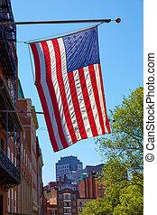 ダウンタウンに, ボストン, 旗, アメリカ人, マサチューセッツ