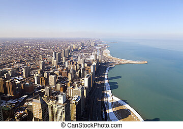 ダウンタウンに, 光景, 航空写真, シカゴ