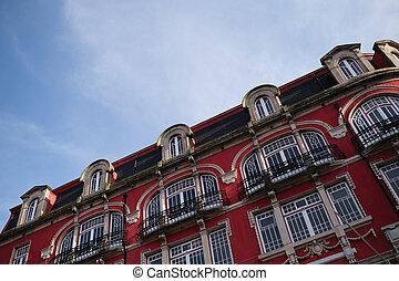 ダウンタウンに, 光景, portugal., porto, 家, ファサド