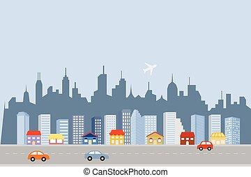 ダウンタウンに, 大きい, スカイライン, 都市