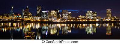 ダウンタウンに, 水辺地帯, ポートランド, オレゴン, 夕闇