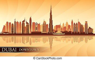 ダウンタウンに, 背景, ドバイ, スカイライン, 都市, シルエット