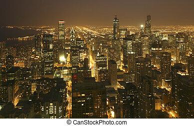 ダウンタウンに, 航空写真, スカイライン, 日没, シカゴ