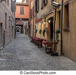 ダウンタウンに, 都市, 古代, ferrara, trattoria