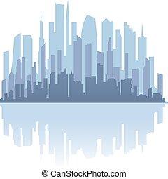 ダウンタウンに, 都市, 超高層ビル, 現場, reflections.