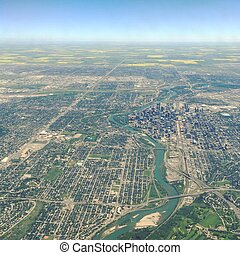 ダウンタウンに, calgary, 光景, 航空写真, アルバータ