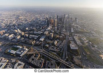 ダウンタウンに, los, 航空写真, アンジェルという名前の人たち, カリフォルニア
