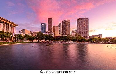 ダウンタウン los アンヘレス, 超高層ビル, 反映する, 中に, 水, ∥において∥, sunset.