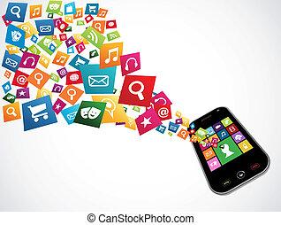ダウンロード, アプリケーション, smartphone