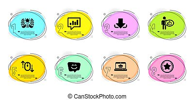ダウンロード, チャット, ランキング, set., 忠誠, 買い物, 分析的, 顔, 星, 微笑, ベクトル, signs., オンラインで, アイコン