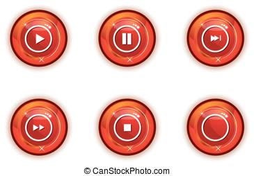 ダウンロード, ボタン, 赤