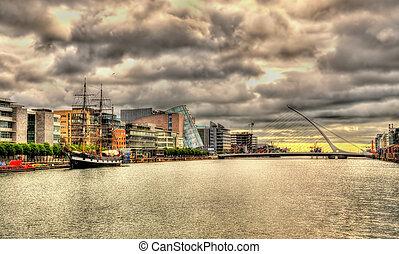 ダブリン, -, 堤防, アイルランド, 光景