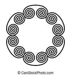 ダブル, らせん状に動きなさい, 円, できる, 装飾, frame.