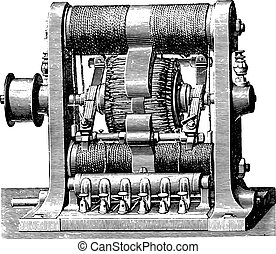 ダブル, グラム, 機械, engraving., 型, リング