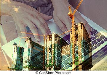 ダブル, ビジネス, 建設, さらされること, サイト, 人, 使用, ノート