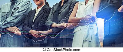 ダブル, 保有物, hands., さらされること, 人々ビジネス