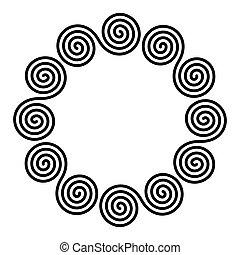 ダブル, 形づくられた, 円, フレーム, 小さい, らせん状に動く, 線である