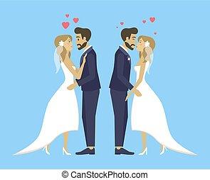 ダブル, 花婿, 抱き合う, 花嫁, 結婚式, 接吻