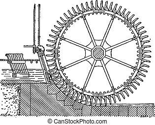 ダブル, winnowing, engraving., 側, 型, 車輪