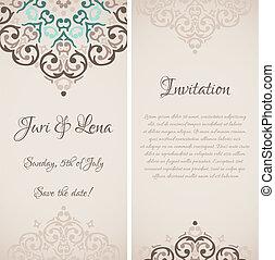 ダマスク織, テキスト, 結婚式, 旗, ベクトル, 場所, 招待, バロック式, あなたの