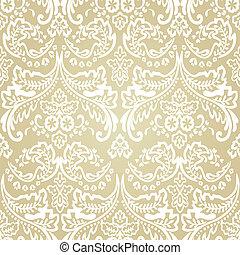 ダマスク織, 型, seamless, バックグラウンド。, パターン, 花
