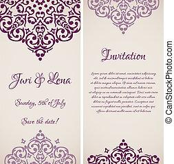 ダマスク織, 招待, ベクトル, 場所, 結婚式, バロック式, 旗