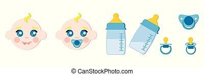 ダミー, セット, アイコン, ベビーの子供, 顔, おしゃぶり, ミルク, びん, 幼児