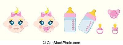ダミー, ミルク, セット, びん, おしゃぶり, 顔, アイコン, 温度計, 子供, 赤ん坊