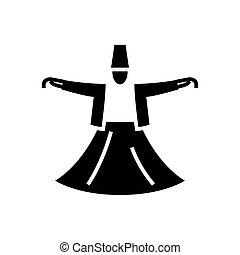 ダルウィーシュ, イラスト, ダンス, -, 隔離された, 印, ベクトル, 黒い背景, アイコン, イスラム教