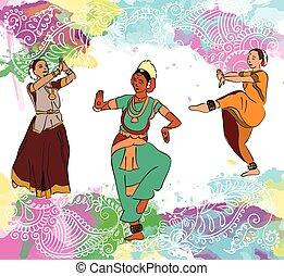 ダンサー, セット, indian