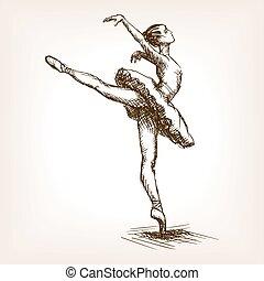 ダンサー, バレエ, ベクトル, 女の子, スケッチ