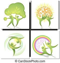 ダンサー, 緑, 概念, 木, eco-icon