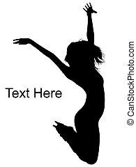 ダンサー, 跳躍, 女性, 空気