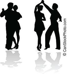 ダンス, カップル, シルエット