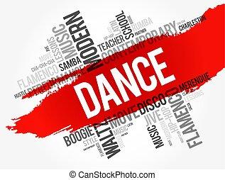 ダンス, コラージュ, 単語, 雲