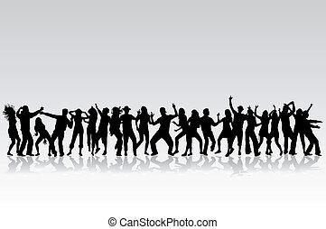 ダンス, シルエット, -, コレクション, 大きい