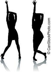 ダンス, シルエット, 女性