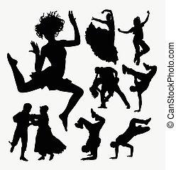 ダンス, シルエット, 美しい