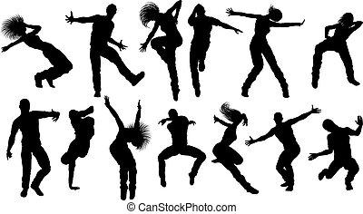 ダンス, シルエット, 通り, ダンサー