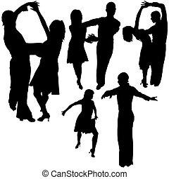 ダンス, シルエット, latino